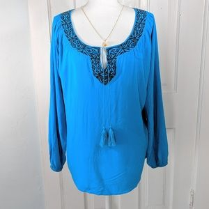 Ariat Boho Peasant Tassel Top Size Large Teal Blue